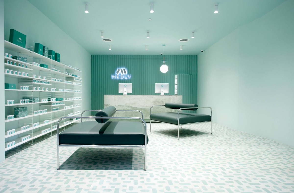 pharmacy featuring string system in white.