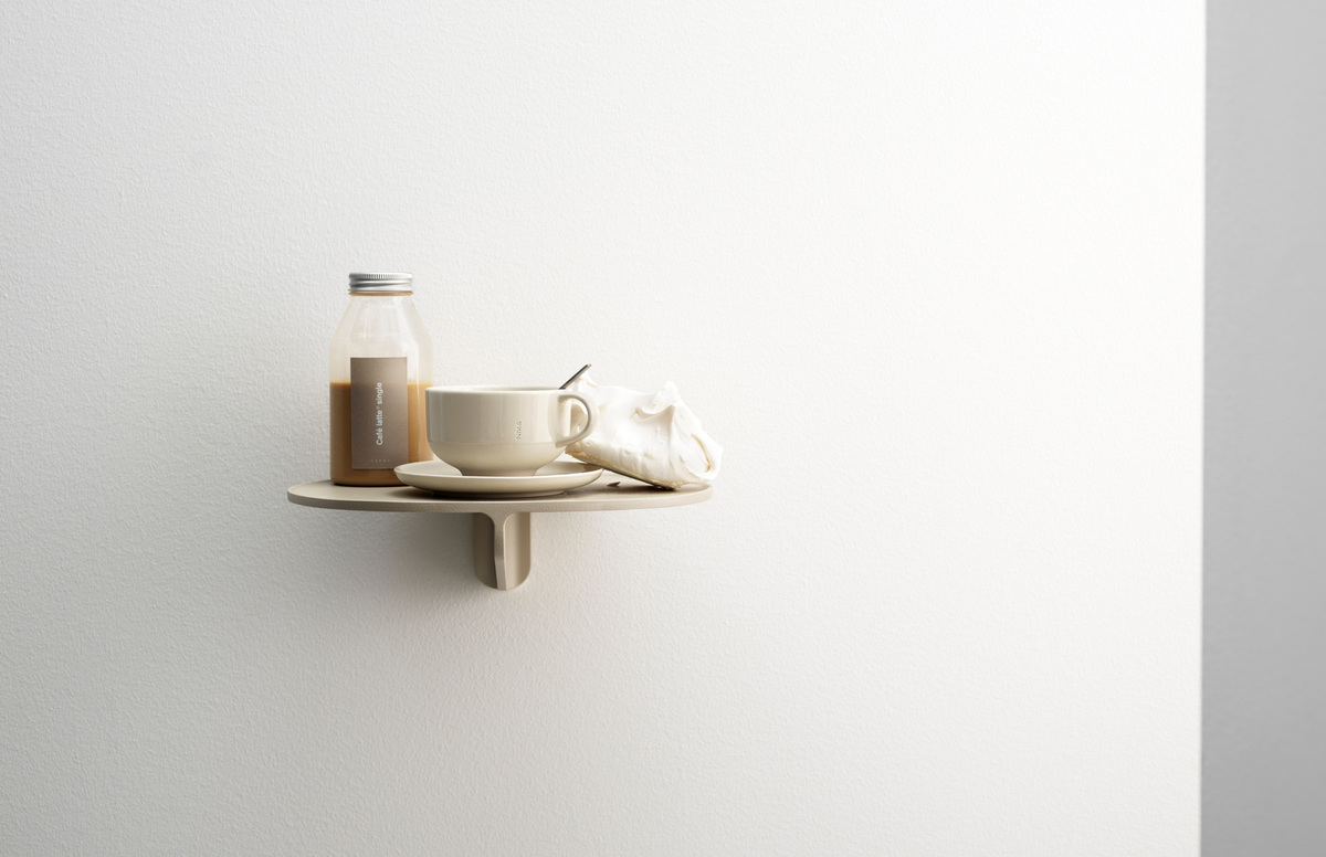 Museum™ ..by String Furniture in a warm beige hue. Wall-hung console shelf perfect for your hallway.